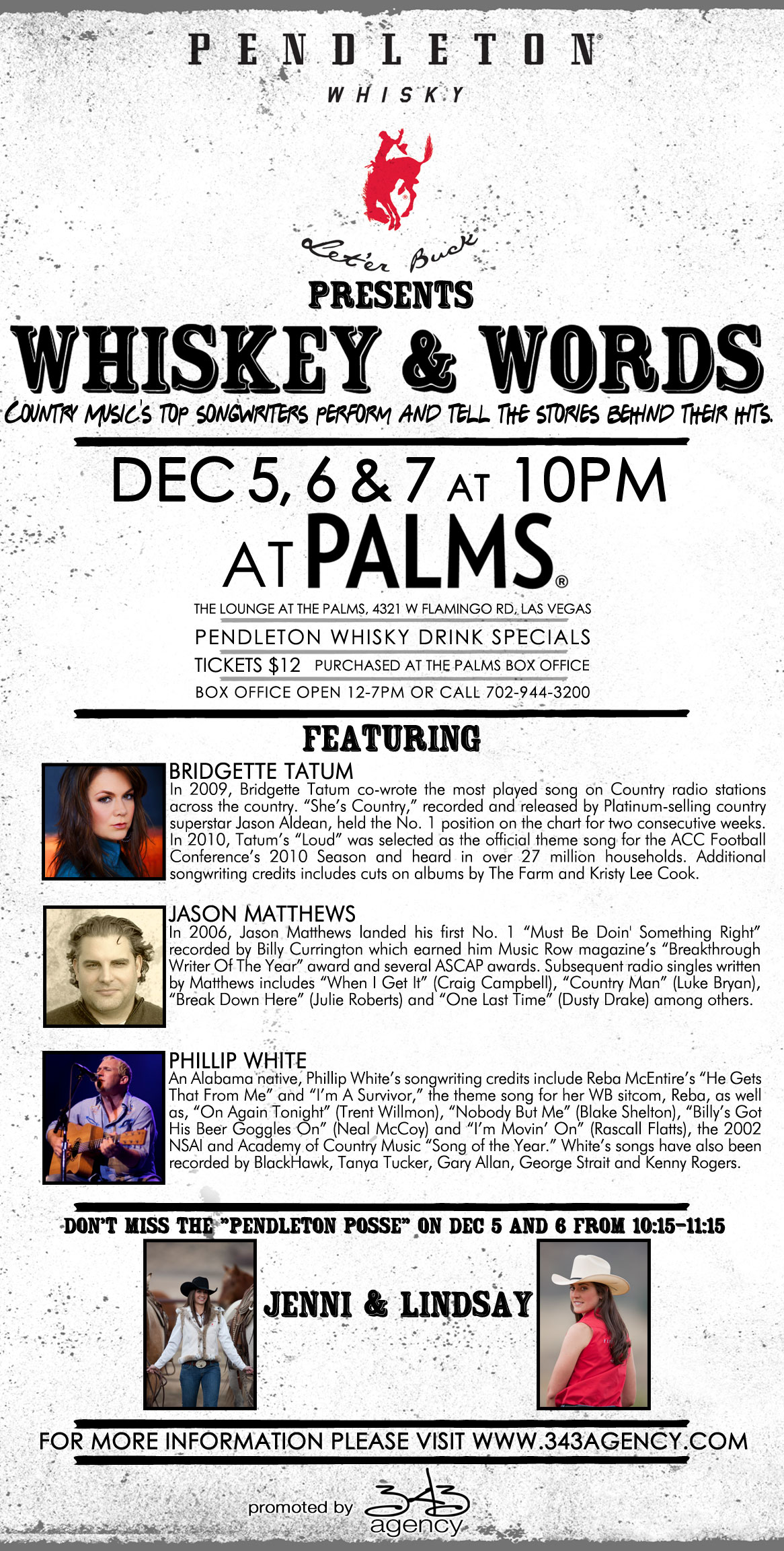 Country Music Hit-Makers to Perform at Palms Resort Casino with 'Whiskey & Words' During NFR